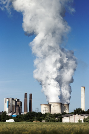powerplant: Brown coal fuel power station emission Stock Photo