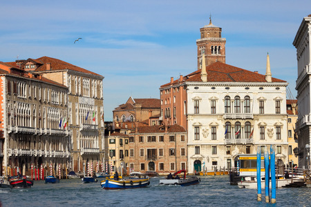 waterbus: View on the Grand Canal at the San Samuele waterbus stop in Venice, Italy.