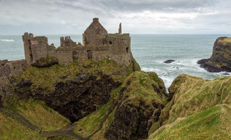 northern ireland: Dunluce castle ruins in Northern Ireland Stock Photo