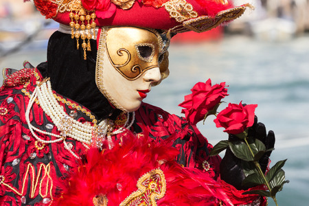 carnivale: Costumed person during Carnival in Venice, Italy