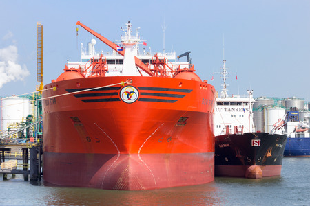 rotterdam: ROTTERDAM - AUG 1, 2014: OilChemical tanker Bow Star moored in the Port of Rotterdam. The port is the largest in Europe and facilitate the needs of a hinterland with 40,000,000 consumers. Editorial