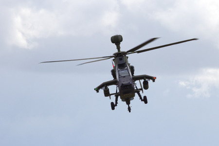 tigre: LAAGE, GERMANY - AUG 23, 2014: Eurocopter EC665 Tiger attack helicopter flying during a display at the Laage airbase open house.