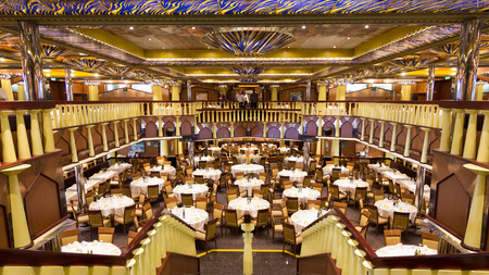 fortuna: AMSTERDAM - SEP 2: Restaurant on the Costa Fortuna cruise on Sep 2, 2014 in Amsterdam, The Netherlands. The ship is part of a fleet of 17 ships owned by Costa Cruises. Editorial