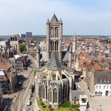 gent: GHENT - JUN 18: View on the St Bavos Cathedral of Gent on June 18, 2013 in Ghent, Belgium. The city is a municipality located in the Flemish region of Belgium.