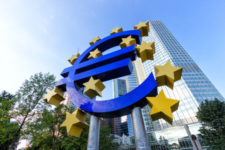 ecb: FRANKFURT, GERMANY - JUL 11: Euro sign outside the European Central Bank on July 11, 2013 in Frankfurt Germany. The ECB is building new premises in Frankfurt, due for completion in 2013.