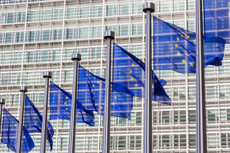 election commission: Flags in front of the EU Commission building in Brussels
