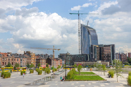 liege: LIEGE, BELGIUM - AUG 5, 2014: View on the city of Liege from the central railway station Liege-Guillemins.