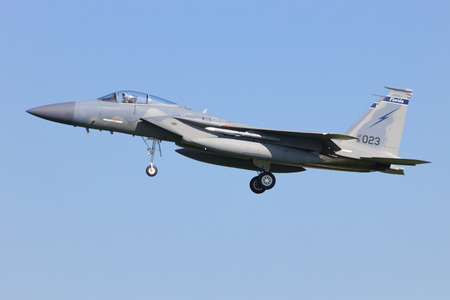 f 15: LEEUWARDEN, NETHERLANDS - APRIL 15, 2015: Florida ANG F-15 landing during the exercise Frisian Flag. The exercise is considered one of the most important NATO training events this year.