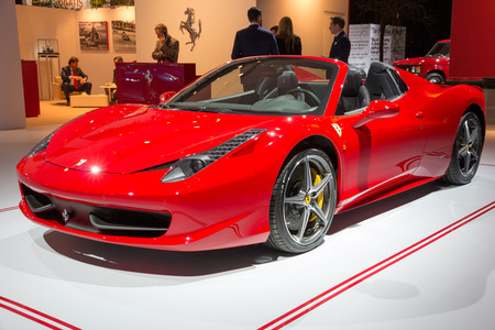 ferrari: AMSTERDAM - APRIL 16, 2015: Ferrari 458 Spider at the AutoRAI 2015. Editorial