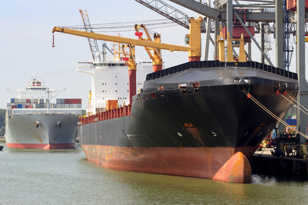 freighter: Loading and unloading of container-ships.