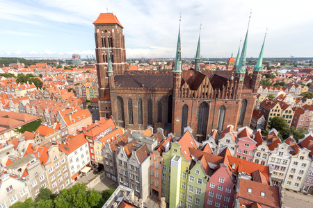 View on the city of Gdansk in Poland. The city is the historical capital of Polish Pomerania with medieval old town architecture. photo