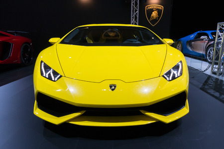 lamborghini: AMSTERDAM - APRIL 16, 2015: Lamborghini Huracan LP 610-4 sports car at the AutoRAI 2015. Editorial