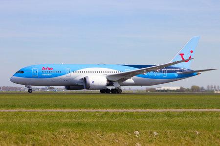 schiphol: AMSTERDAM-SCHIPHOL, THE NETHERLANDS - APRIL 21, 2015: Arke Boeing 787 Dreamliner taking of from Schiphol airport.