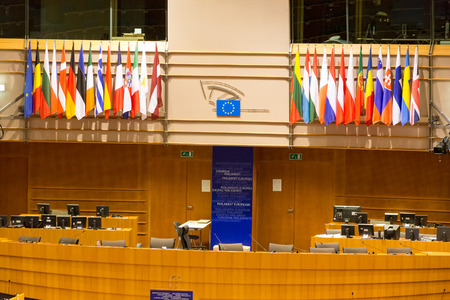 chamber: BRUSSELS, BELGIUM - JULY 30, 2014: The European Parliament Room (debating chamber) on July 30, 2014 in Brussels. Editorial