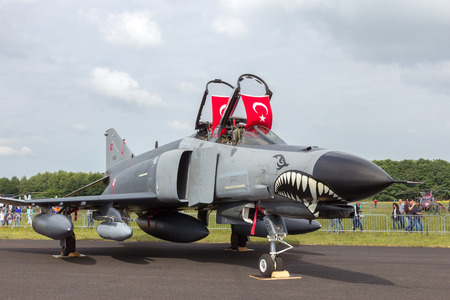 jetplane: GILZE RIJEN, THE NETHERLANDS - JUNE 21, 2014: Turkish Air Force F-4 Phantom fighter jet on static display at the Dutch Air Force Open House.
