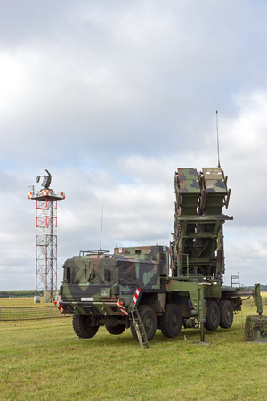 missiles: LAAGE, GERMANY - AUG 23, 2014: A German army mobile MIM-104 Patriot surface-to-air missile (SAM) system on display during the Laage airbase open house.