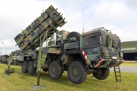 ballistic: LAAGE, GERMANY - AUG 23, 2014: A German army mobile MIM-104 Patriot surface-to-air missile (SAM) system on display during the Laage airbase open house.
