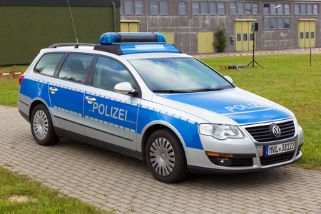 LAAGE, GERMANY - AUG 23, 2014: A German Volkswagen Passat police car at the Laage airbase open house.