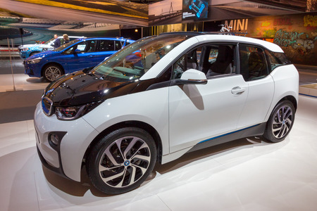 i3: AMSTERDAM - APRIL 16, 2015: Five-door urban electric car BMW i3 at the AutoRAI 2015.
