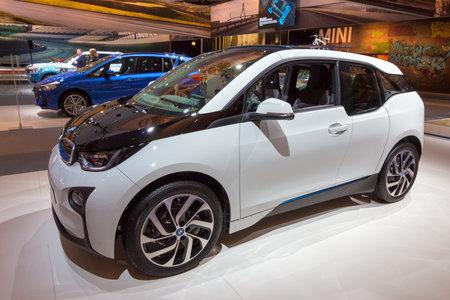 i3: AMSTERDAM - APRIL 16, 2015: Five-door urban electric car BMW i3 at the AutoRAI 2015.