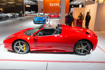 replaced: AMSTERDAM - APRIL 16, 2015: Ferrari 458 Spider at the AutoRAI 2015. The 458 replaced the Ferrari F430 in 2009 and is now replaced by the Ferrari 488 GTB which was unveiled in Geneva 2015.