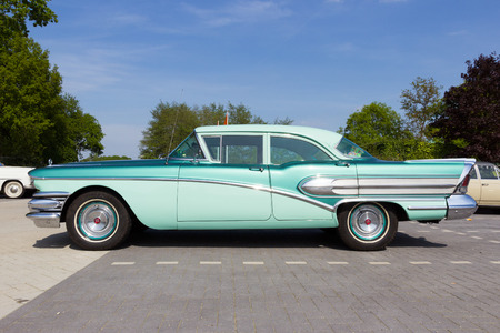 jukebox: DEN BOSCH, THE NETHERLANDS - MAY 10, 2015: 1958 Buick Special on the parking lot at the Rock Around The Jukebox event.