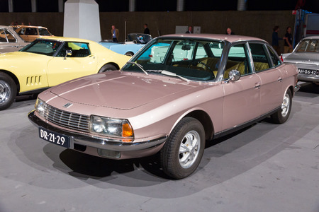 marketed: AMSTERDAM - APRIL 16, 2015: NSU Ro 80 at the AutoRAI 2015. The car was manufactured and marketed by the West German firm NSU from 1967 until 1977.