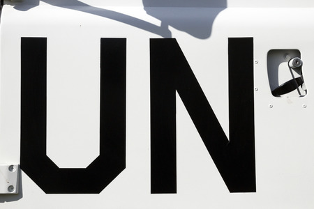 united nations: UN sign on a United Nations peacekeeping truck