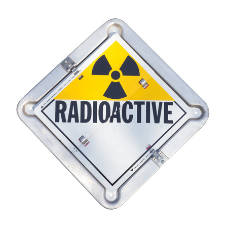 radioactive: Truck transport radioactive warning sign. Stock Photo