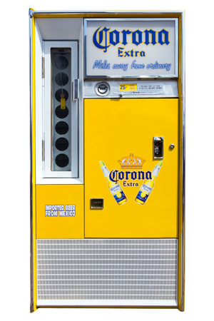 vending: DEN BOSCH, THE NETHERLANDS - MAY 10, 2015: A vintage Corona Extra beer vending machine. In the United States Corona Extra is the top selling imported beer.