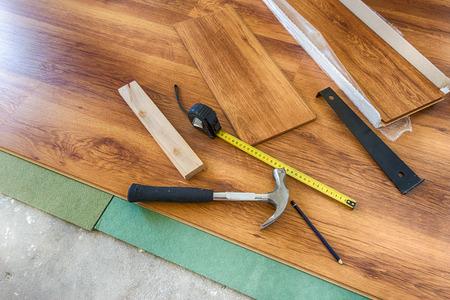 laminated: Installing new laminated wooden floor