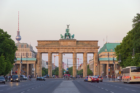 BERLIN GERMANY  MAY 22 2014: View on the Brandenburg Gate from in Berlin Germany. It's an 18thcentury neoclassical triumphal arch in Berlin one of the bestknown landmarks of Germany.