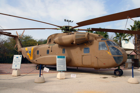 israeli: HATZERIM ISRAEL  JANUARY 27 2011: Israeli Air Force Sikorsky CH53 transport helicopter on display in the Israeli Air Force Museum. Editorial