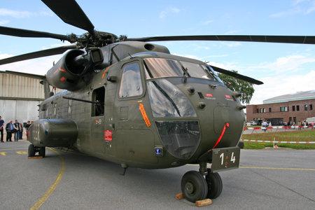 heli: RHEINE-BENTLAGE, GERMANY JUL 01, 2011: German Air Force Sikorsky CH-53 transport helicopters on display during the open house at Rheine-Bentlage Air Base.