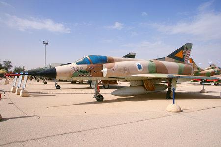 mirage: HATZERIM ISRAEL  JANUARY 27 2011: Israeli Air Force Dassault Mirage III fighter jet on display in the Israeli Air Force Museum.
