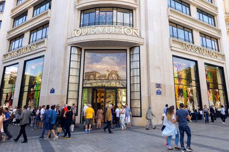PARIS FRANCE  JUNE 19 2015: Louis Vuitton shopfront on the Champs Elysees.