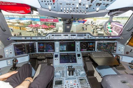 PARIS  JUN 18 2015: Qatar Airways Airbus A350 XWB cockpit. Qatar Airways is the first user of the A350 with its first flight on 15 January 2015.