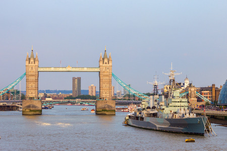 hms: View on the Tower Bridge and HMS Belfast in London. Stock Photo