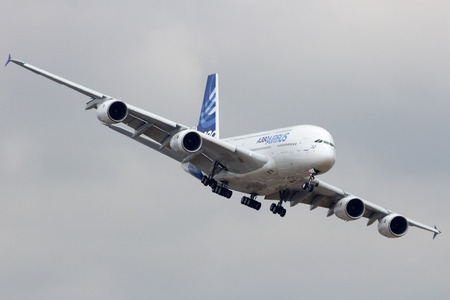 PARIS-LE BOURGET - JUN 18, 2015: Airbus A380 turning to land at the 51st International Paris Air show. The A380 is the largest passenger airliner in the world.