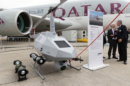 airbus: PARIS-LE BOURGET - JUN 18, 2015: Airbus Tanan Unmanned Aerial System UAS at the 51st International Paris Air show. New generation UAV build by Airbus Defence and Space.