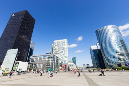 la: PARIS - JUN 19, 2015: View on the La Defense district. La Defense is the biggest business district in France. Editorial