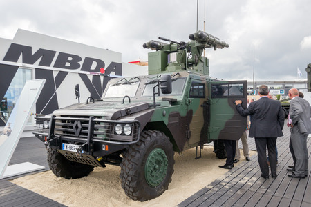 sherpa: PARIS-LE BOURGET - JUN 18, 2015: Renault Sherpa 2 Light Scout with a MBDA missile system at the 51st International Paris Air show