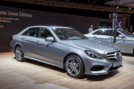 configurations: AMSTERDAM - APRIL 16, 2015: Mercedes-Benz E-Class car at the AutoRAI 2015. E-class is a range of executive cars manufactured by Mercedes-Benz in various configurations produced since 1993. Editorial