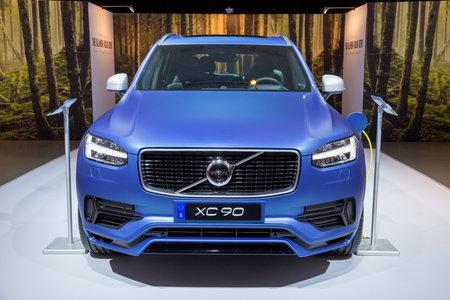 headquartered: AMSTERDAM - APRIL 16, 2015: Volvo XC90 at the AutoRAI 2015. Volvo is a Swedish premium automobile manufacturer, headquartered in Gothenburg.