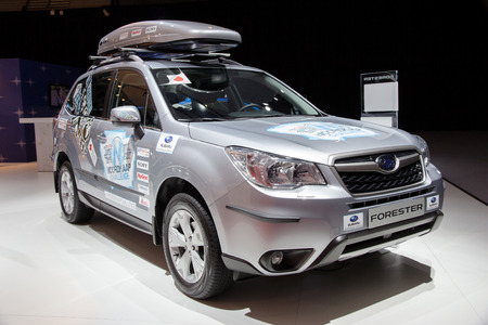 forester: AMSTERDAM - APRIL 16, 2015: Subaru Forester at the AutoRAI 2015. Editorial