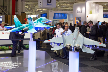 air show: PARIS-LE BOURGET - JUN 18, 2015: Mock-up planes at a stand of the Russian United Aircraft Corporation company during the 51st International Paris Air show.