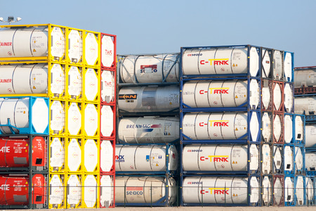 ROTTERDAM, NETHERLANDS - OCT 1, 2011: Stored tankcontainers for transport of liquids, gases and powders in the Port of Rotterdam