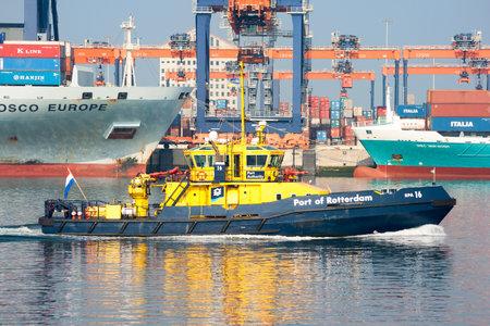 patrolling: ROTTERDAM, NETHERLANDS - OCT 1, 2011: Ship of the Port Authority patrolling in the Port of Rotterdam. Editorial