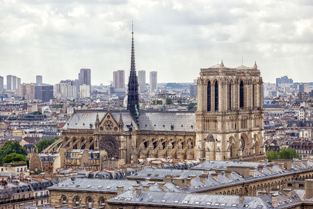 Paris Aerial view with Notre-Dame cathedral