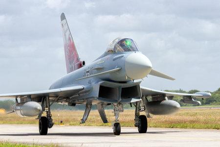 防衛: WITTMUND, GERMANY- JUNE 29, 2013: Newly arrived Eurofighter Typhoon which officially replaced the F-4 Phantom on the Phantom Pharewell Day. 報道画像